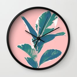 Ficus Elastica Finesse #3 #tropical #foliage #decor #art #society6 Wall Clock