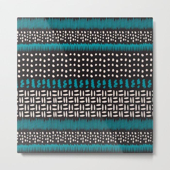 Dots, spots and zigzags pattern Metal Print