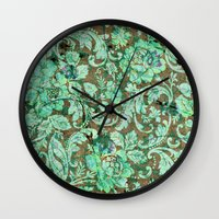 flower pattern Wall Clocks featuring Flower pattern by nicky2342