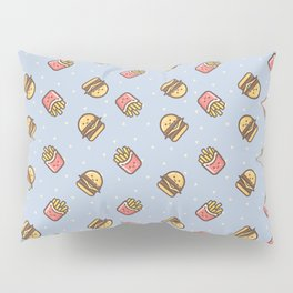 Cute pink brown blue funny fries burger food triangles pattern Pillow Sham