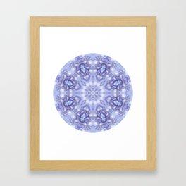 Light Blue, Lavender & White Floral Mandala Framed Art Print