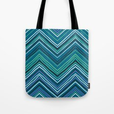 Chevron pattern with thin zigzag lines Tote Bag
