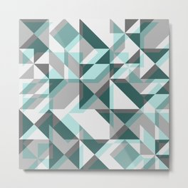 Modern Art Geometric Teal Metal Print