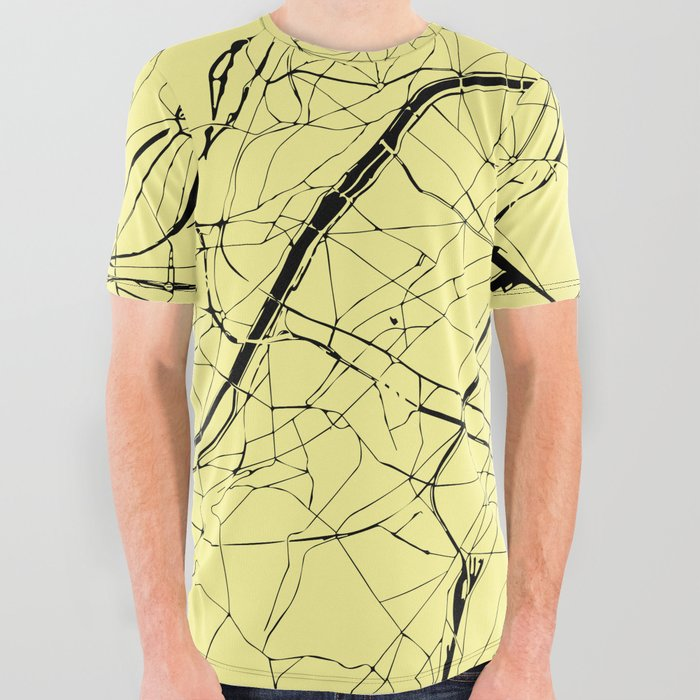 209e9065 Paris France Minimal Street Map - Yellow on Black All Over Graphic Tee
