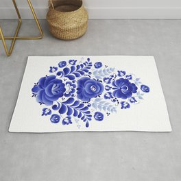 Blue flowers in the form of an egg Rug