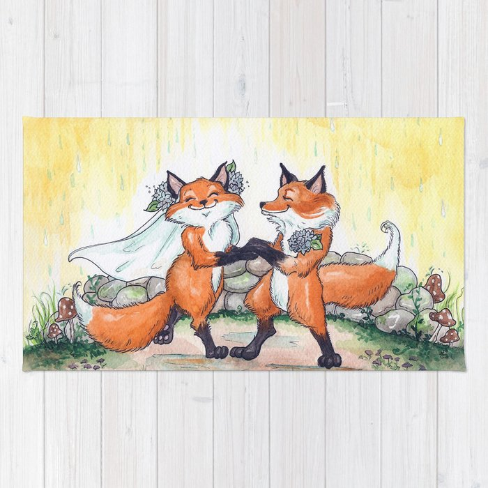 Fox Wedding  Rug