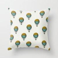 hot air balloons Throw Pillows featuring Hot Air Balloons by Juste Pixx Designs
