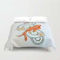 koi fish Duvet Covers featuring Koi Fish by Eleni Kakoullis