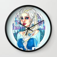 elsa Wall Clocks featuring Elsa by Little Lost Forest