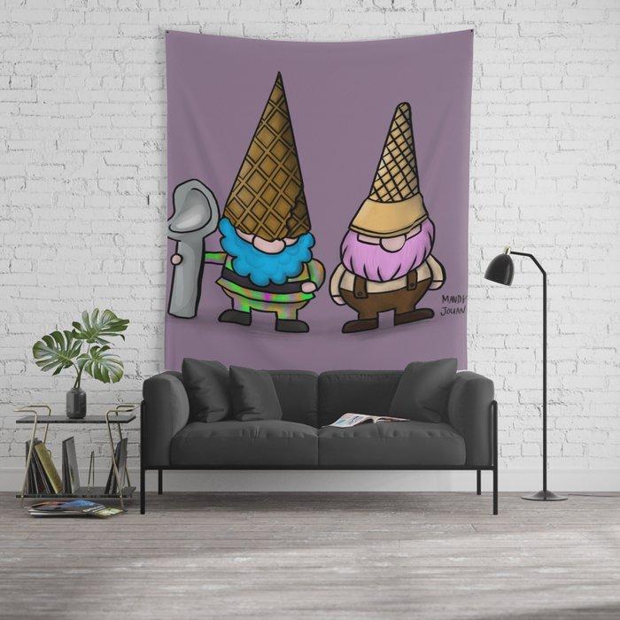 Ice Cream Gnomes, Sherbert & Neapolitan Wall Tapestry