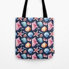Seashells Pattern 2 - Colorful dark Tote Bag