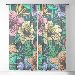 hibiscus flower plant tropical rainbow Sheer Curtain