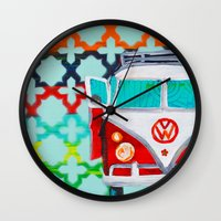 vw Wall Clocks featuring VW by Drica Lobo Art