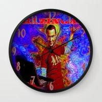 bazinga Wall Clocks featuring Bazinga Sheldon! by JT Digital Art