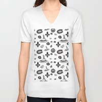 montreal V-neck T-shirts featuring montreal pattern by meli_lebain