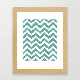 Green Sheen - grey color - Zigzag Chevron Pattern Framed Art Print