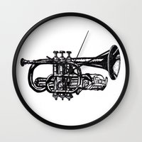 trumpet Wall Clocks featuring Trumpet by Shannon Hansen