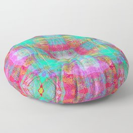 EMBROIDERED ASIAN FABRIC FANTASY COLLAGE Floor Pillow