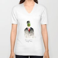magritte V-neck T-shirts featuring this is not a magritte by berg with ice