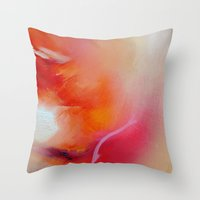 gore Throw Pillows featuring orange gore by siangr