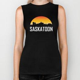 Sunset Skyline of Saskatoon SK Biker Tank