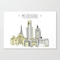 melbourne Canvas Prints featuring Melbourne  by Anne Moloney