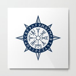 Vegvisir Viking Compass Metal Print