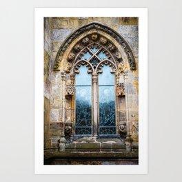 Stained glass window of Rosslyn Chapel outside Edinburgh, Scotland Art Print