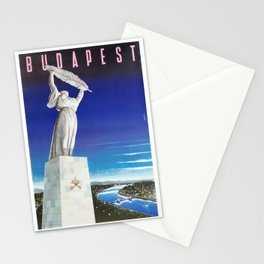 Budapest, Hungary, Gellért Hill, Liberty Statue, vintage poster Stationery Cards