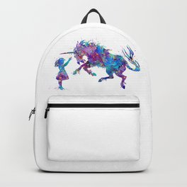 Girl and Unicorn Colorful Blue Purple Watercolor Kids Art Backpack
