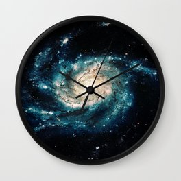 Ocean Blue Teal Spiral Galaxy Wall Clock