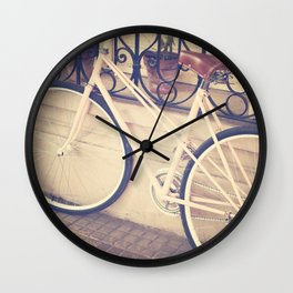 Pierina's Pink Bicycle  - Retro and Vintage Photography Wall Clock
