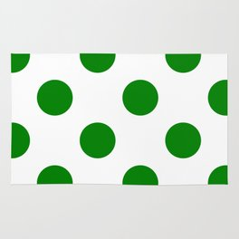 Large Polka Dots - Green on White Rug