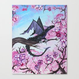 Baby Black Dragon in Cherry Tree Canvas Print