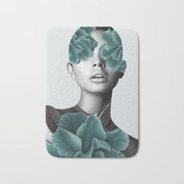 Floral Portrait (woman) Bath Mat