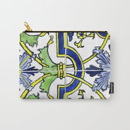 Ornate Yellow, Blue and Green Tiles Carry-All Pouch