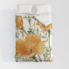California Poppies - Watercolor Painting Comforters