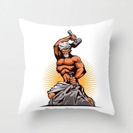 Sculptor Hammer Chisel Retro Throw Pillow