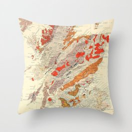 Vintage Scotland Geological Map (1865) Throw Pillow