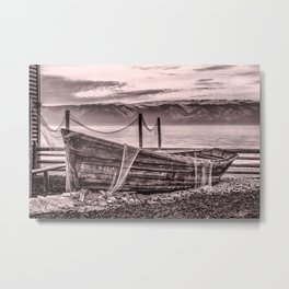 Old rusty boat with net (sepia) Metal Print