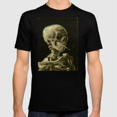 Vincent van Gogh - Skull of a Skeleton with Burning Cigarette Black Mens Fitted Tee 2X-LARGE