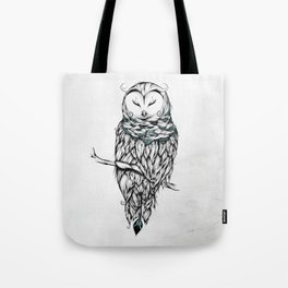 Poetic Snow Owl Tote Bag