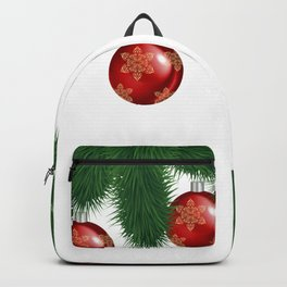 Christmas background with fir branches and red balls Backpack