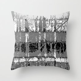 Tropical Abstract Trees in Steely Gray Throw Pillow