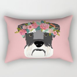 Schnauzer floral crown dog breed pet art schnauzers cute pure breed gifts Rectangular Pillow