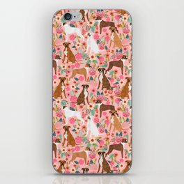 Boxer mixed coats dog breed florals pet gifts for boxers pupper must haves iPhone Skin