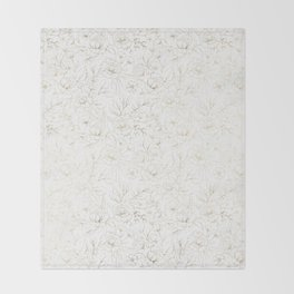 Elegant simple modern faux gold white floral Throw Blanket