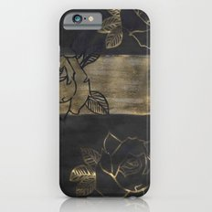 Feminine, Grung Print. Black and Gold Roses. iPhone 6s Slim Case