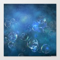 Canvas Prints featuring floating bubbles blue watercolor space background by Art4U