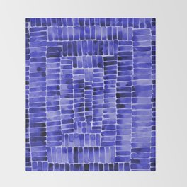 Watercolor abstract rectangles - blue Throw Blanket